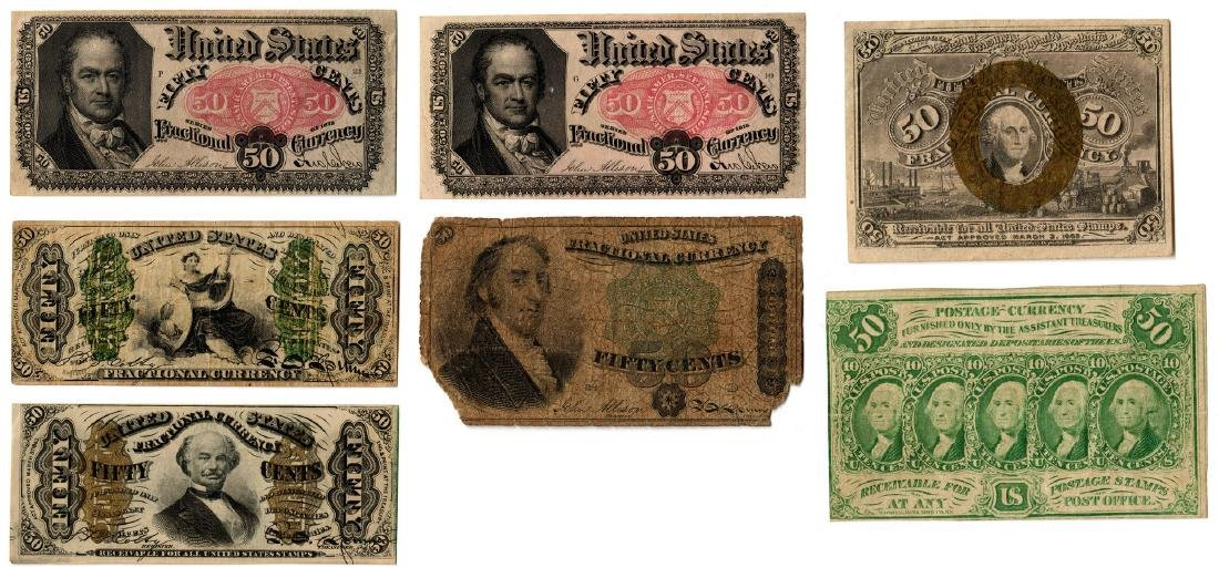 Group Of Seven 50 Cent  U.S. Fractional Banknotes
