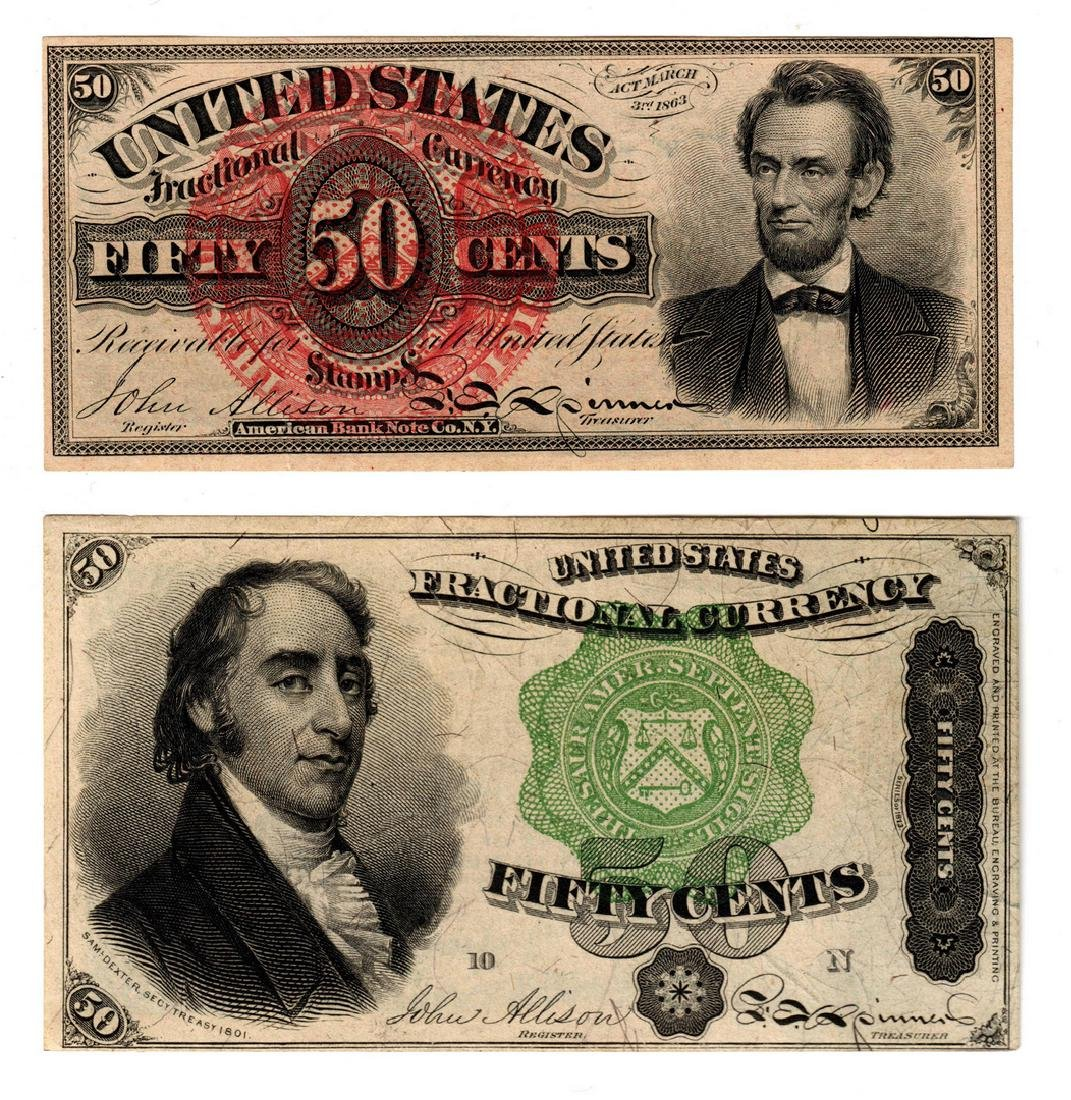 Pair Of 50 Cent U.S. Fractional Banknotes