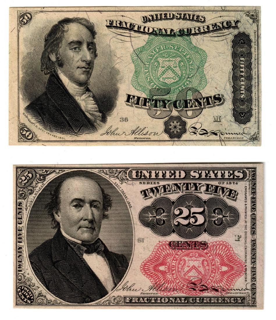 U.S. Fractional Pairing, 50 & 25 Cent Denominations
