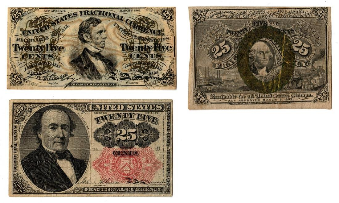 Group Of Three U.S. Fractional Banknotes