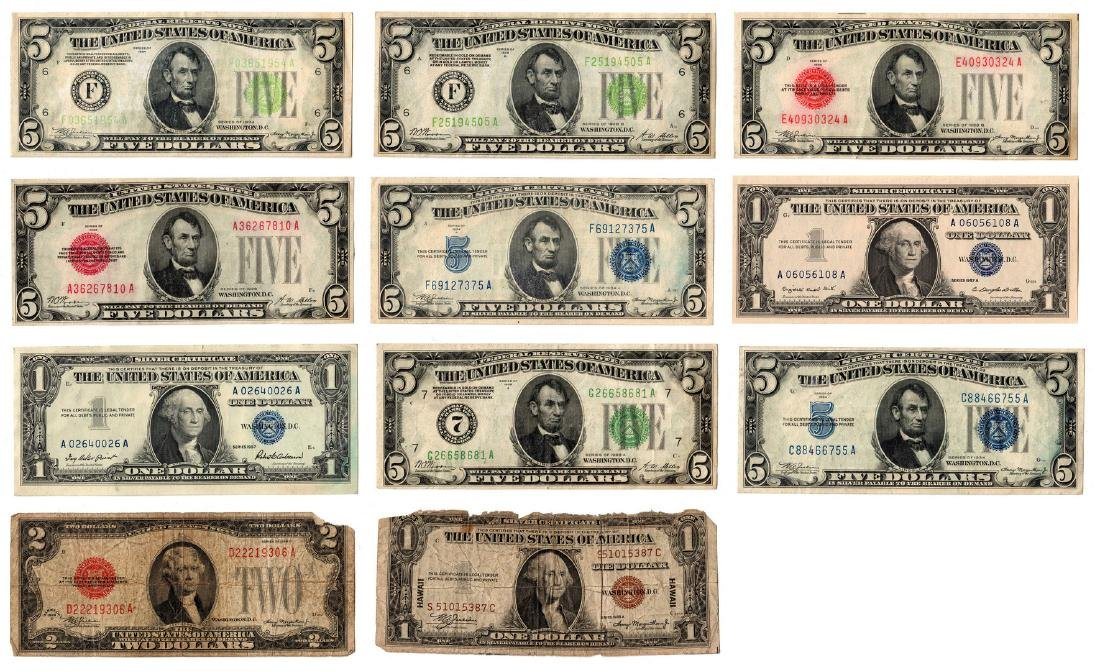 1928-1957 11 Note Group Including 5 Silver Certificates