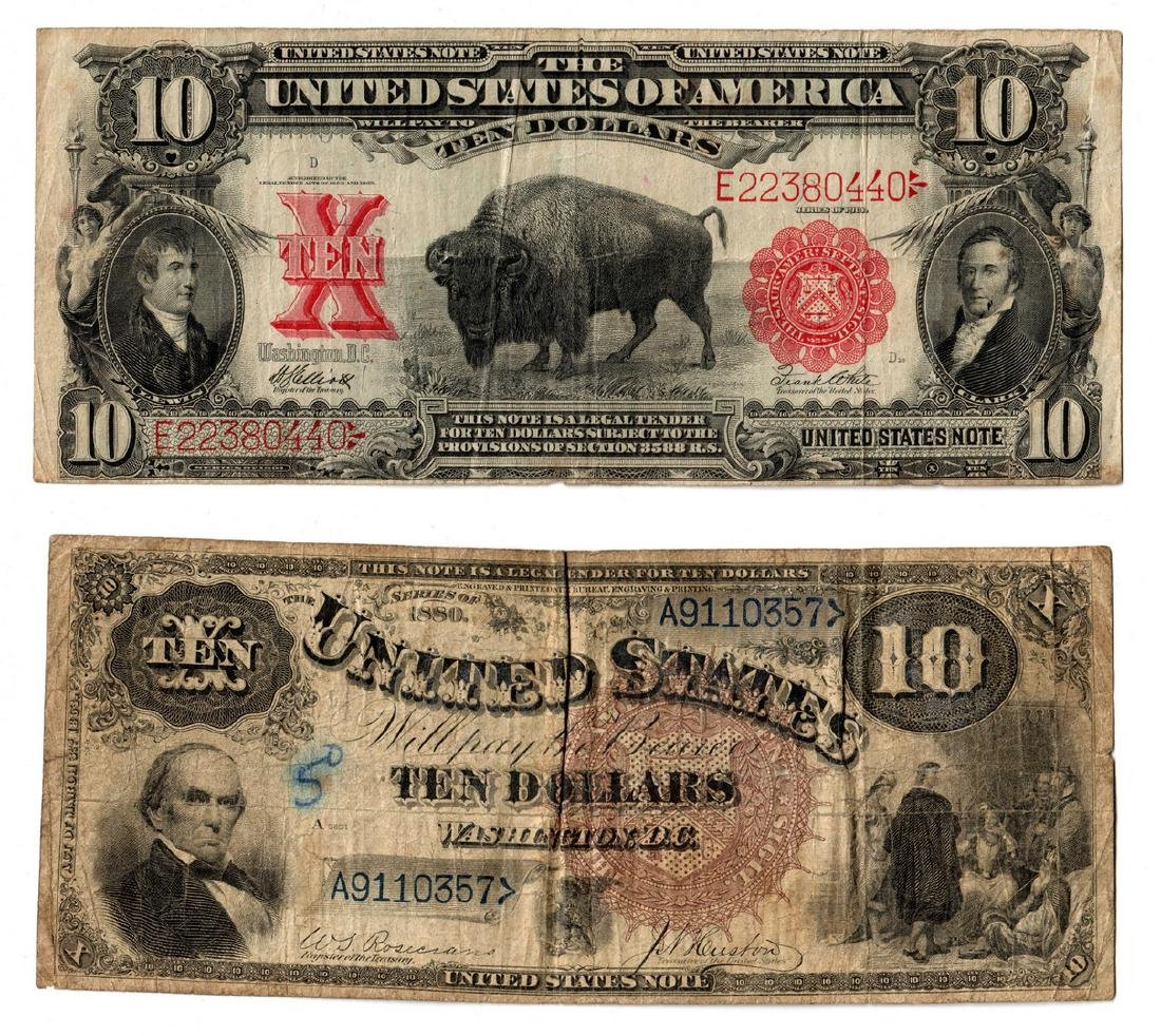 "Pair Of $10 Legal Tender Notes, inc. ""Bison"""