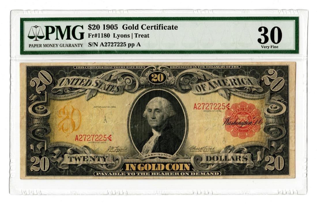 """1905 U.S. $20 """"Technicolor"""" Gold Certificate"""