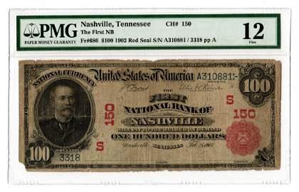 Rare 1902 $100 First National Bank of Nashville