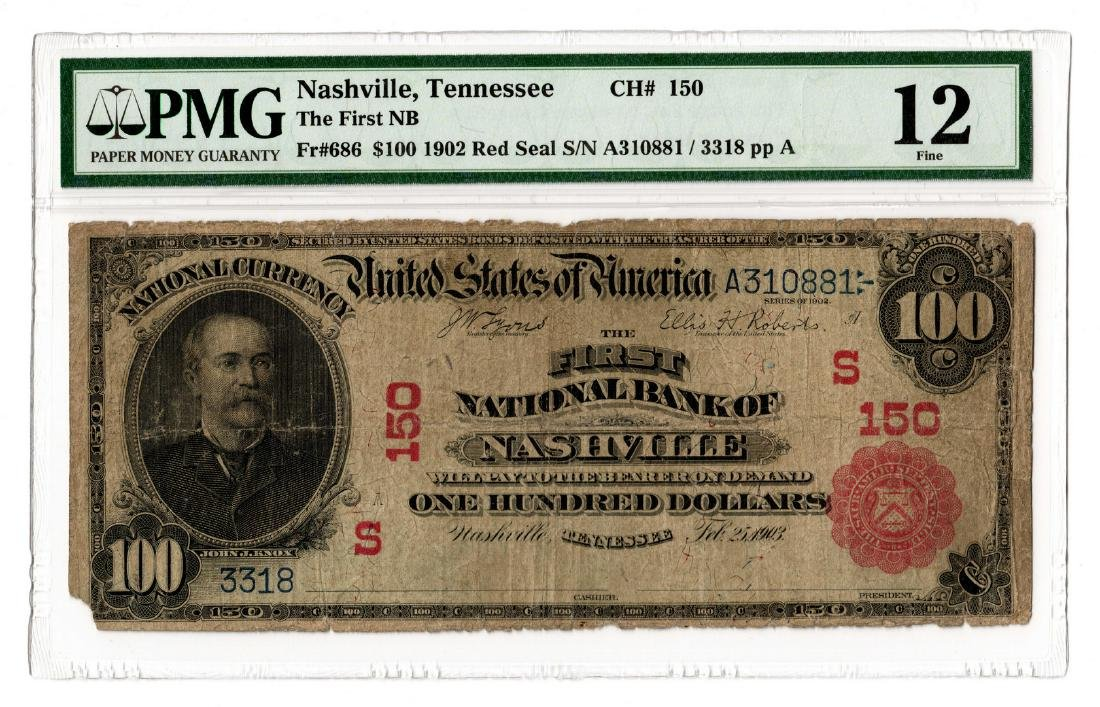 Rare 1902 $100 First National Bank of Nashville