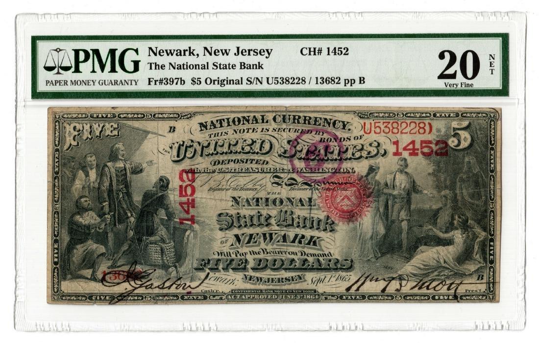 1875 $5 National State Bank, Newark, NJ National
