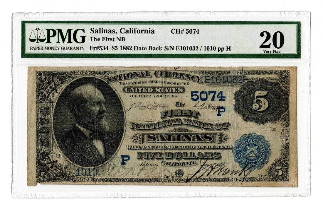 1882 $5 First National Bank, Salinas, CA National
