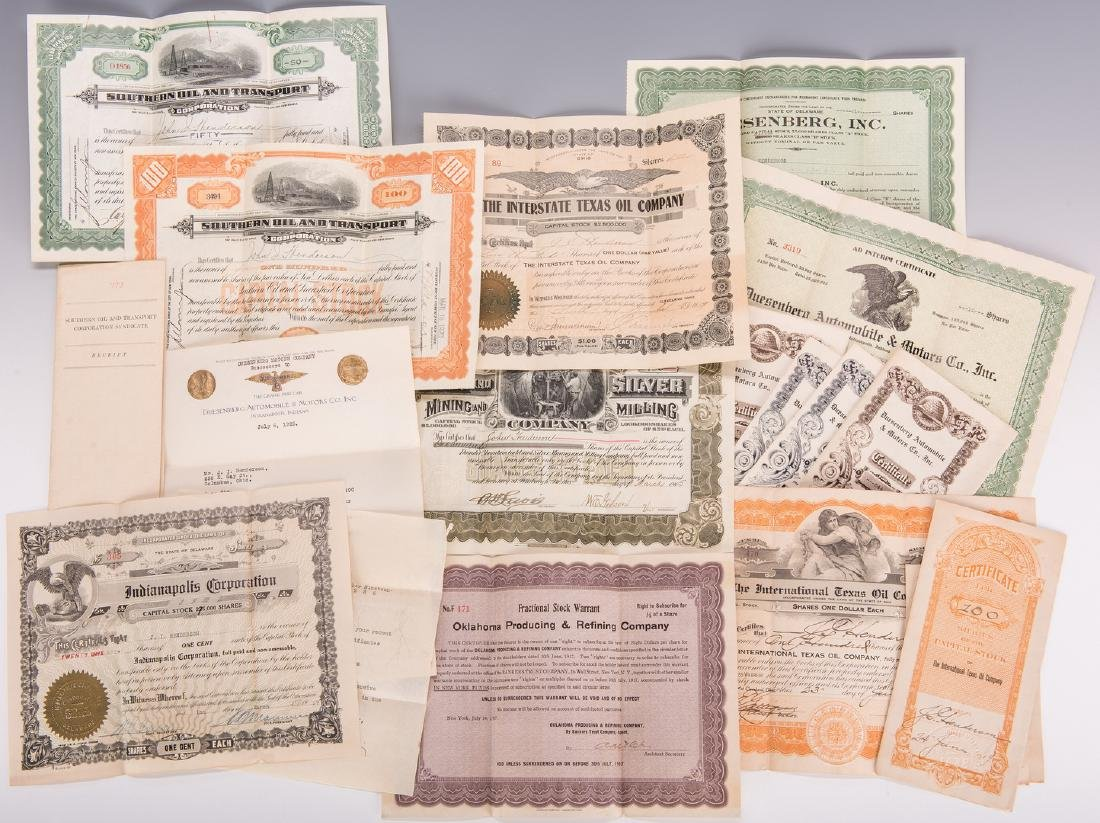 14 Stock Certificates inc. Duesenberg, 18 items
