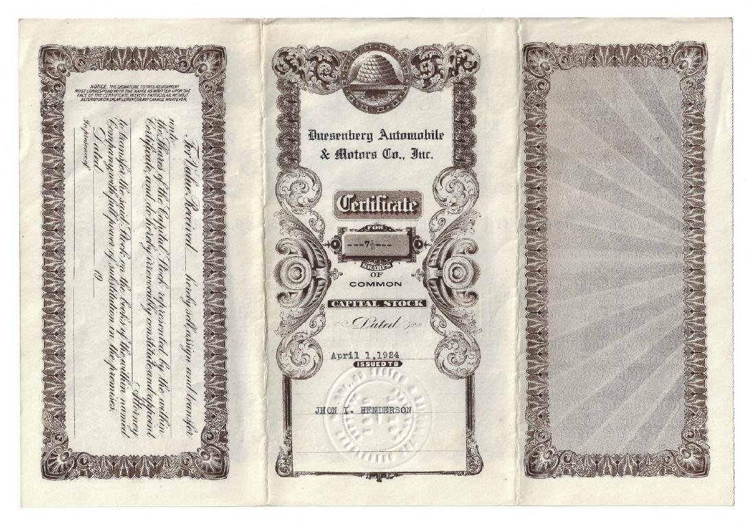 14 Stock Certificates inc. Duesenberg, 18 items - 8
