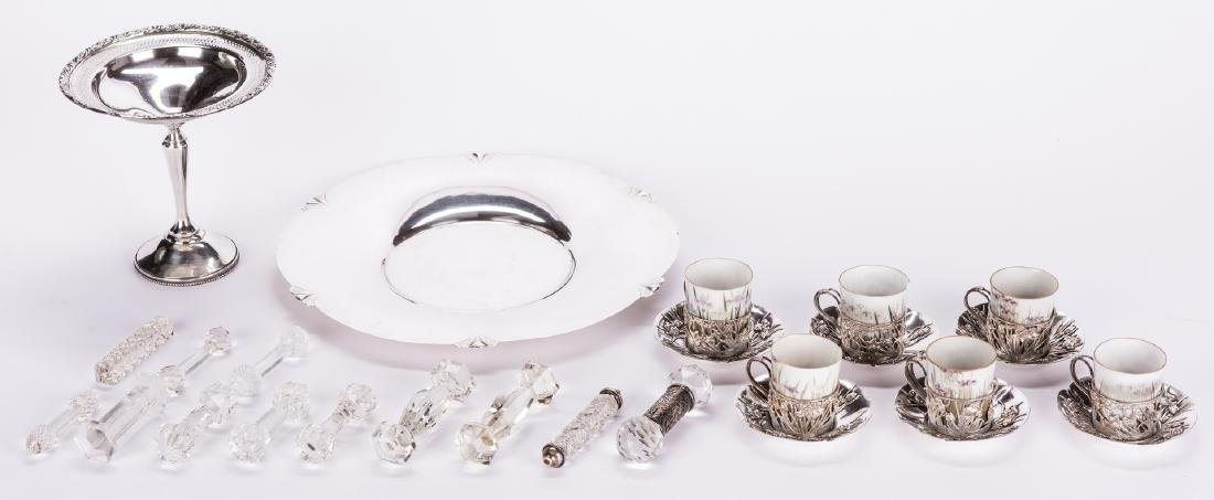 Sterling Silver Table Items & 12 Cut Glass Items - 16