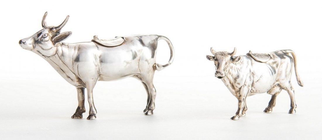 2 German Sterling Cow Creamers