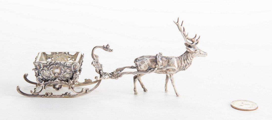 Sterling Reindeer Sleigh Salt Cellar