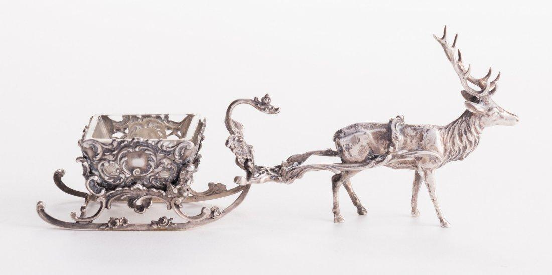 Sterling Reindeer Sleigh Salt Cellar - 2