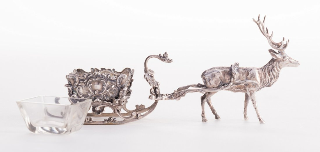 Sterling Reindeer Sleigh Salt Cellar - 4