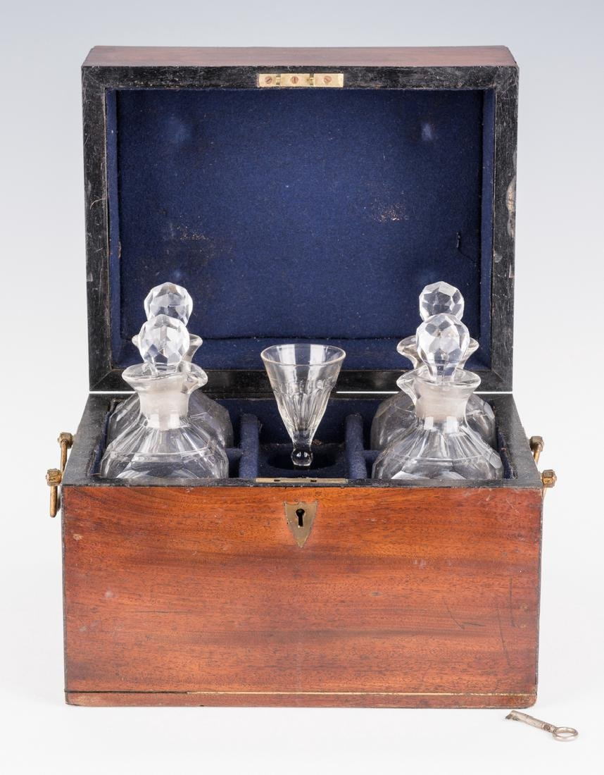 Tantalus, Mahogany Case and Bottles