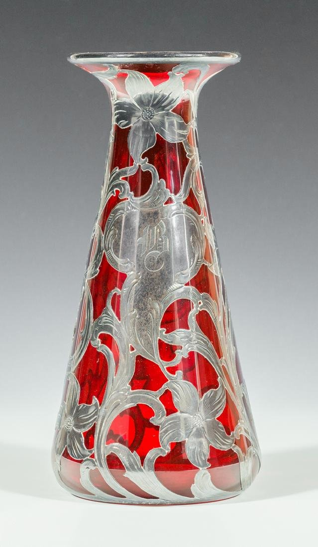 Ruby Glass Vase with Sterling Overlay