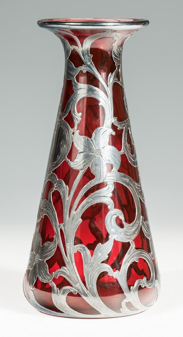 Ruby Glass Vase with Sterling Overlay - 2