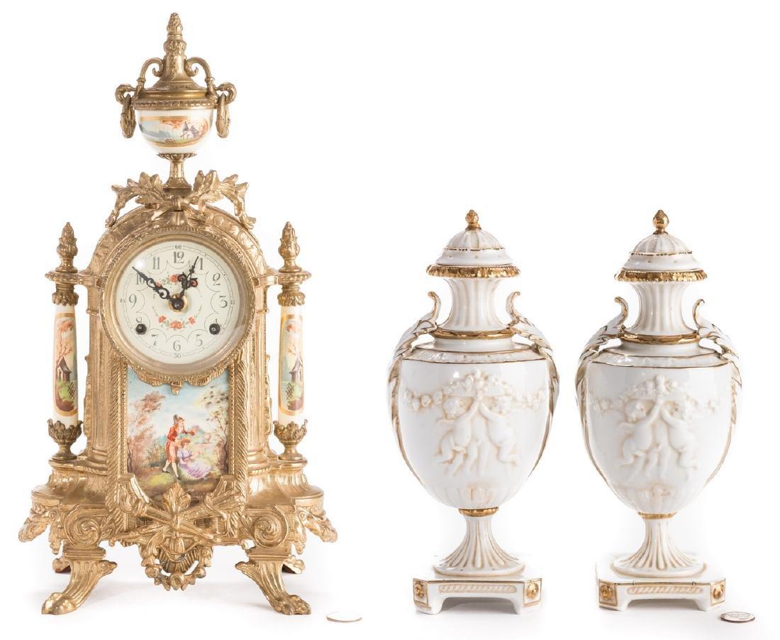 3 German Decorative Items, inc. Clock