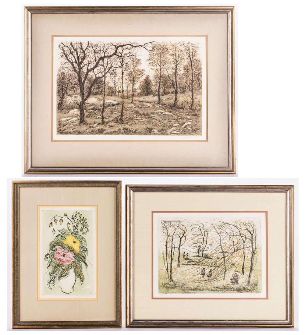 3 Paul Lancaster Colored Etchings