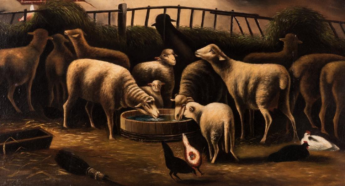 American School, O/C, Flock of Sheep - 3