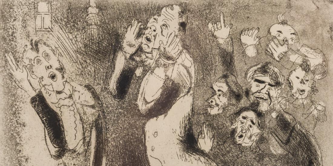 Marc Chagall Etching, Les Fonctionnaires Amaigris - 3