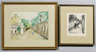 2 Maurice Utrillo Lithographs Street Scenes