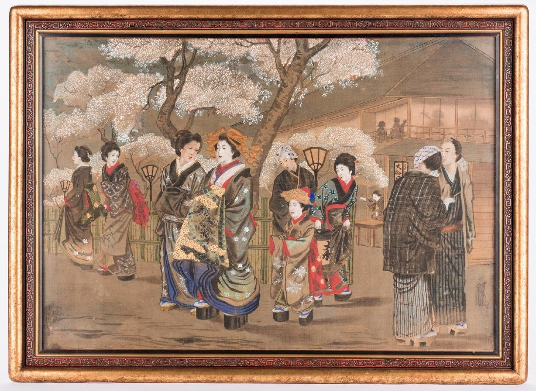 Japanese Painting on silk, Meiji Period - 10