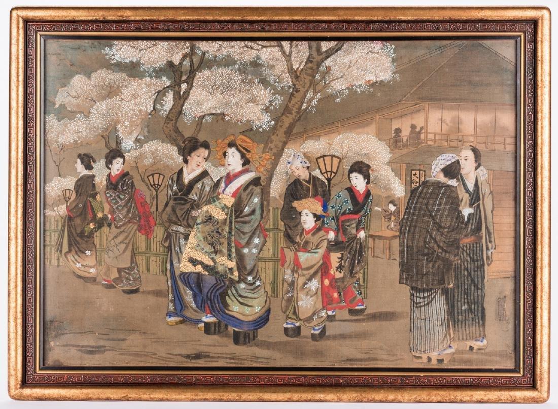 Japanese Painting on silk, Meiji Period