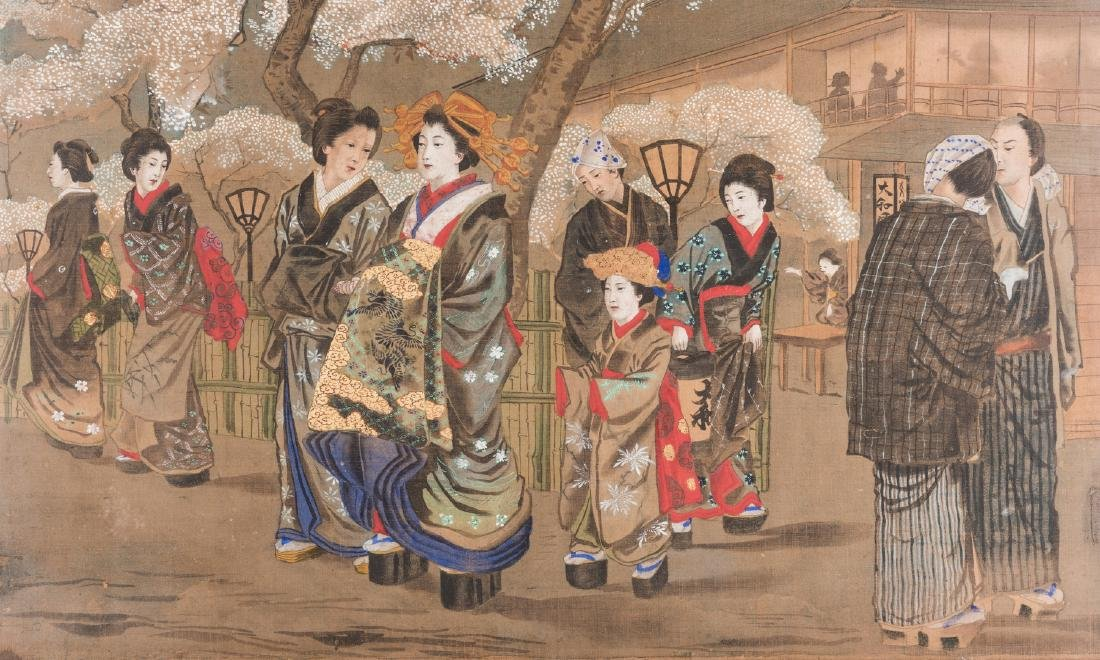 Japanese Painting on silk, Meiji Period - 2