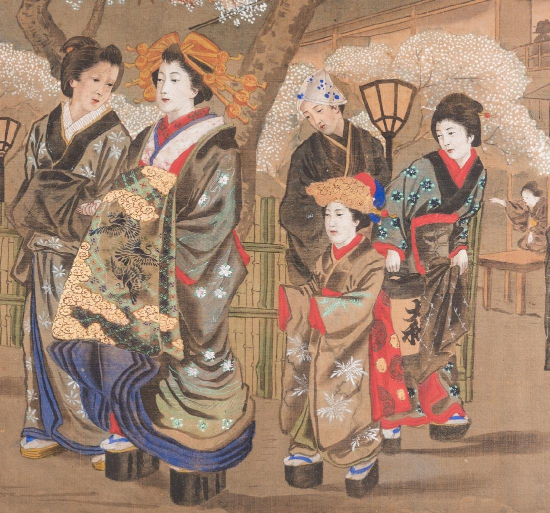 Japanese Painting on silk, Meiji Period - 3