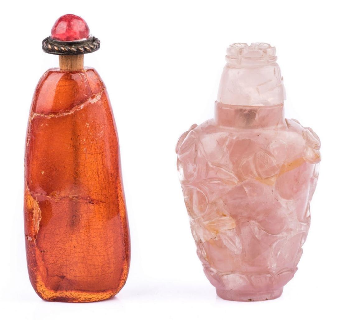 2 Snuff Bottles including Rose Quartz