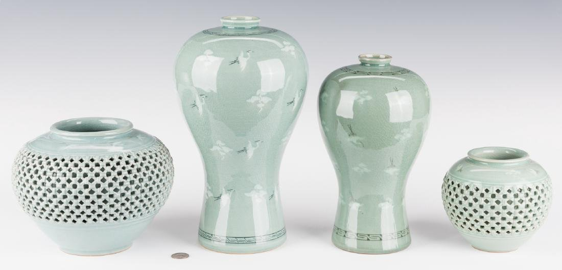 4 Korean Porcelain Celadon Inlaid Vases