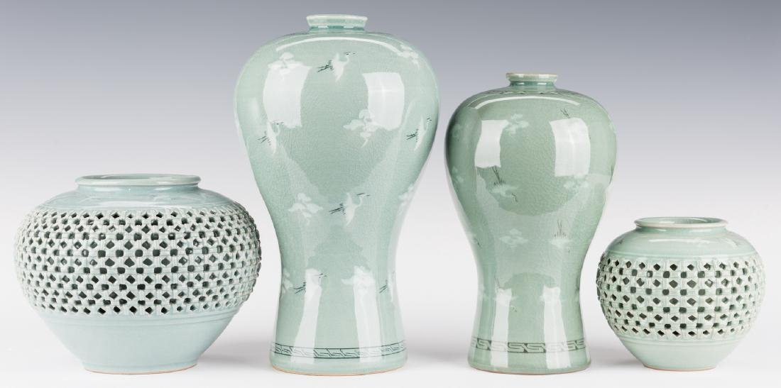 4 Korean Porcelain Celadon Inlaid Vases - 2