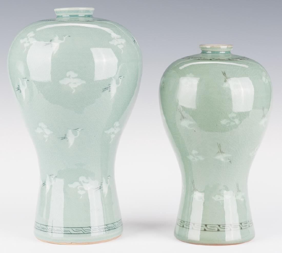 4 Korean Porcelain Celadon Inlaid Vases - 3