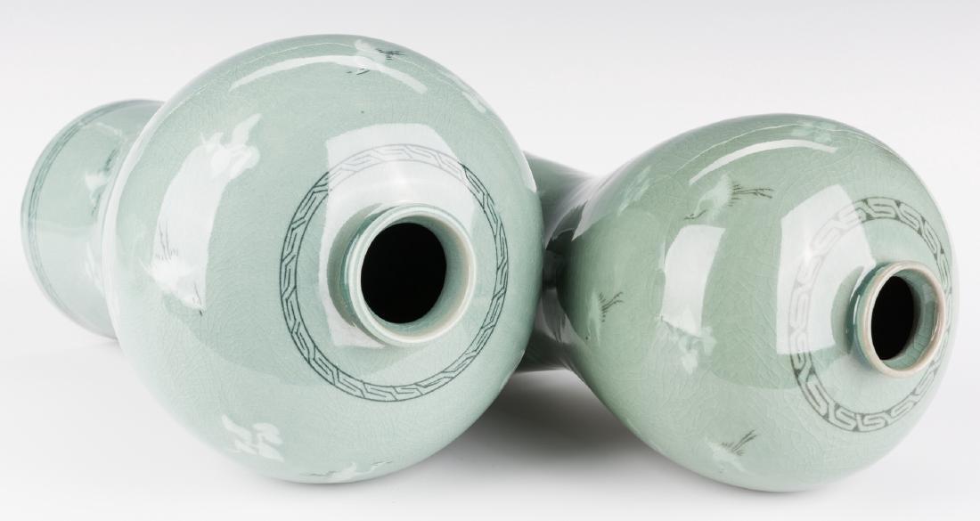 4 Korean Porcelain Celadon Inlaid Vases - 5