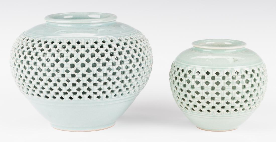 4 Korean Porcelain Celadon Inlaid Vases - 7