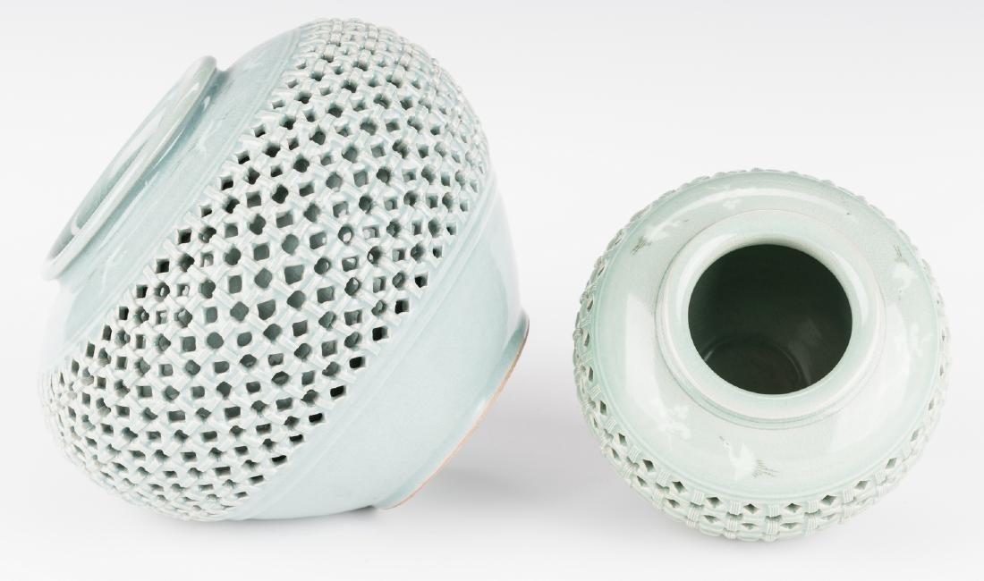 4 Korean Porcelain Celadon Inlaid Vases - 8