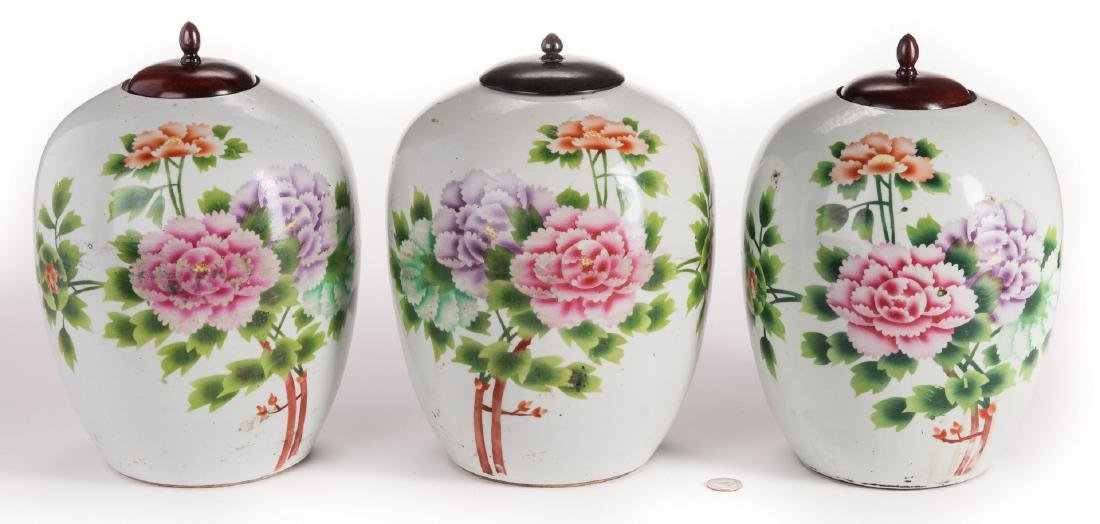3 Chinese Porcelain Ginger Jars w/Peonies