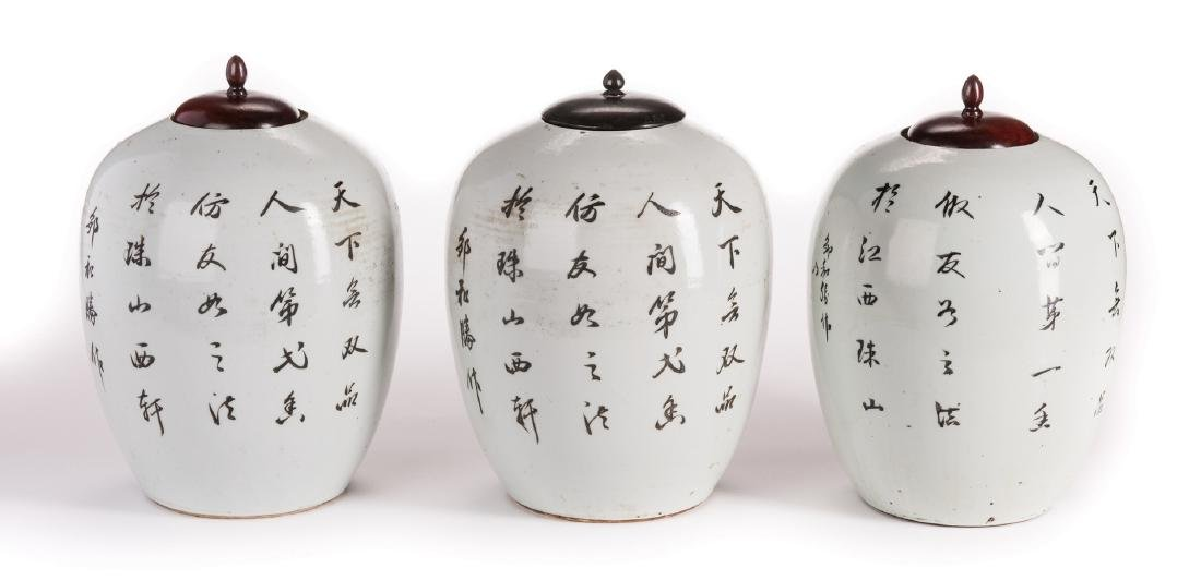 3 Chinese Porcelain Ginger Jars w/Peonies - 2