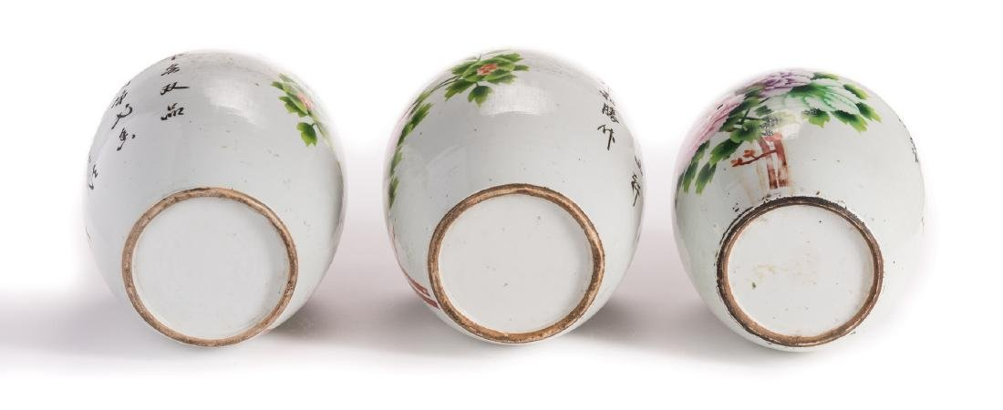 3 Chinese Porcelain Ginger Jars w/Peonies - 6