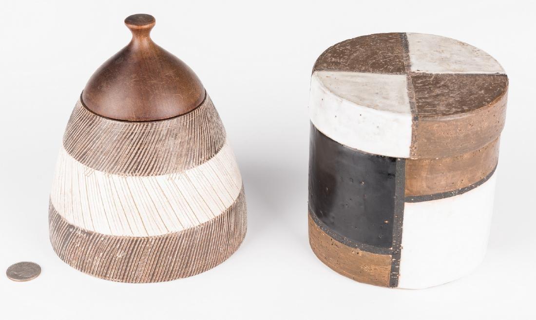 2 Midcentury Ceramic Lidded Jars, Raymor