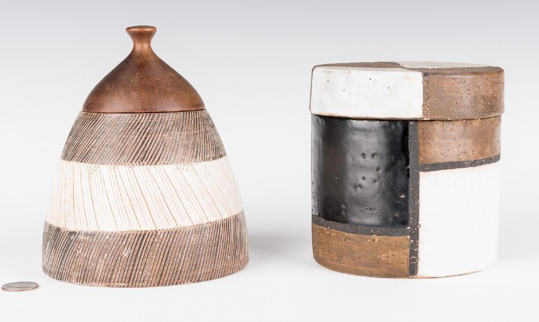 2 Midcentury Ceramic Lidded Jars, Raymor - 2