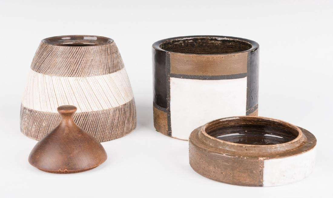 2 Midcentury Ceramic Lidded Jars, Raymor - 3