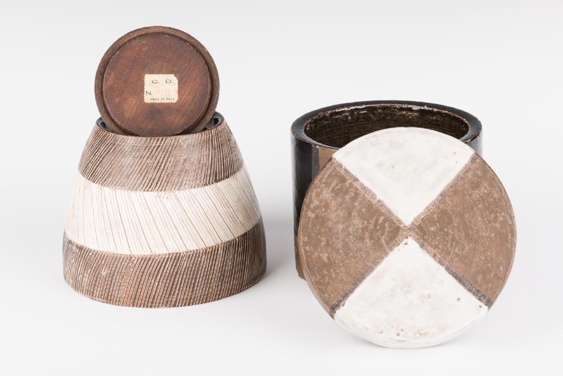 2 Midcentury Ceramic Lidded Jars, Raymor - 4