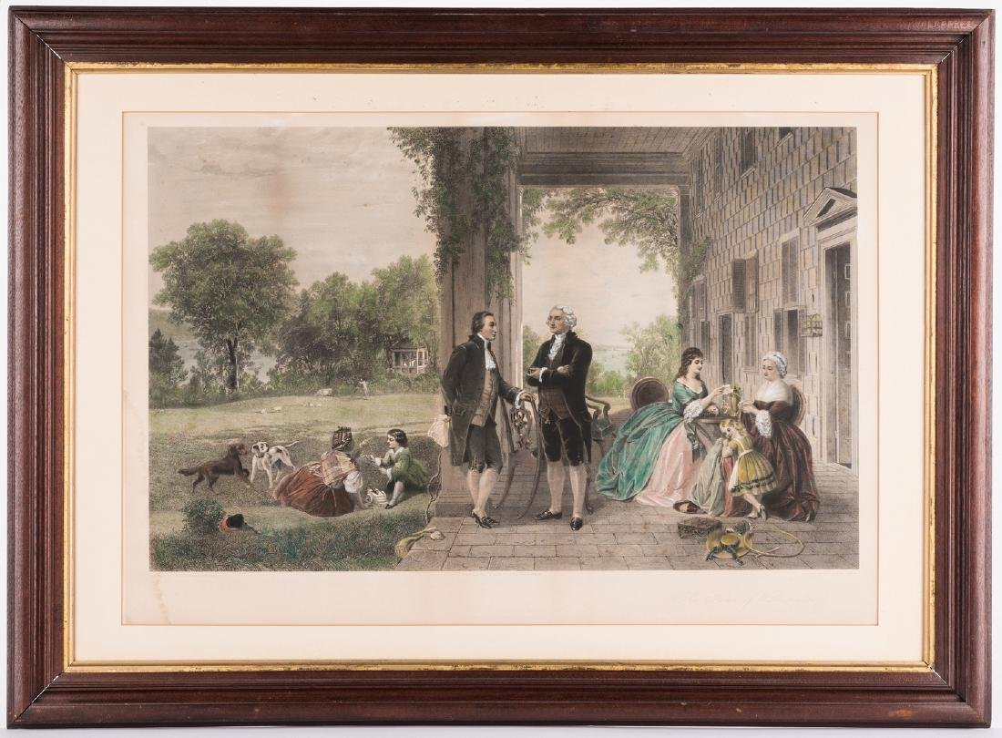 George Washington & Lafayette Colored Lithograph