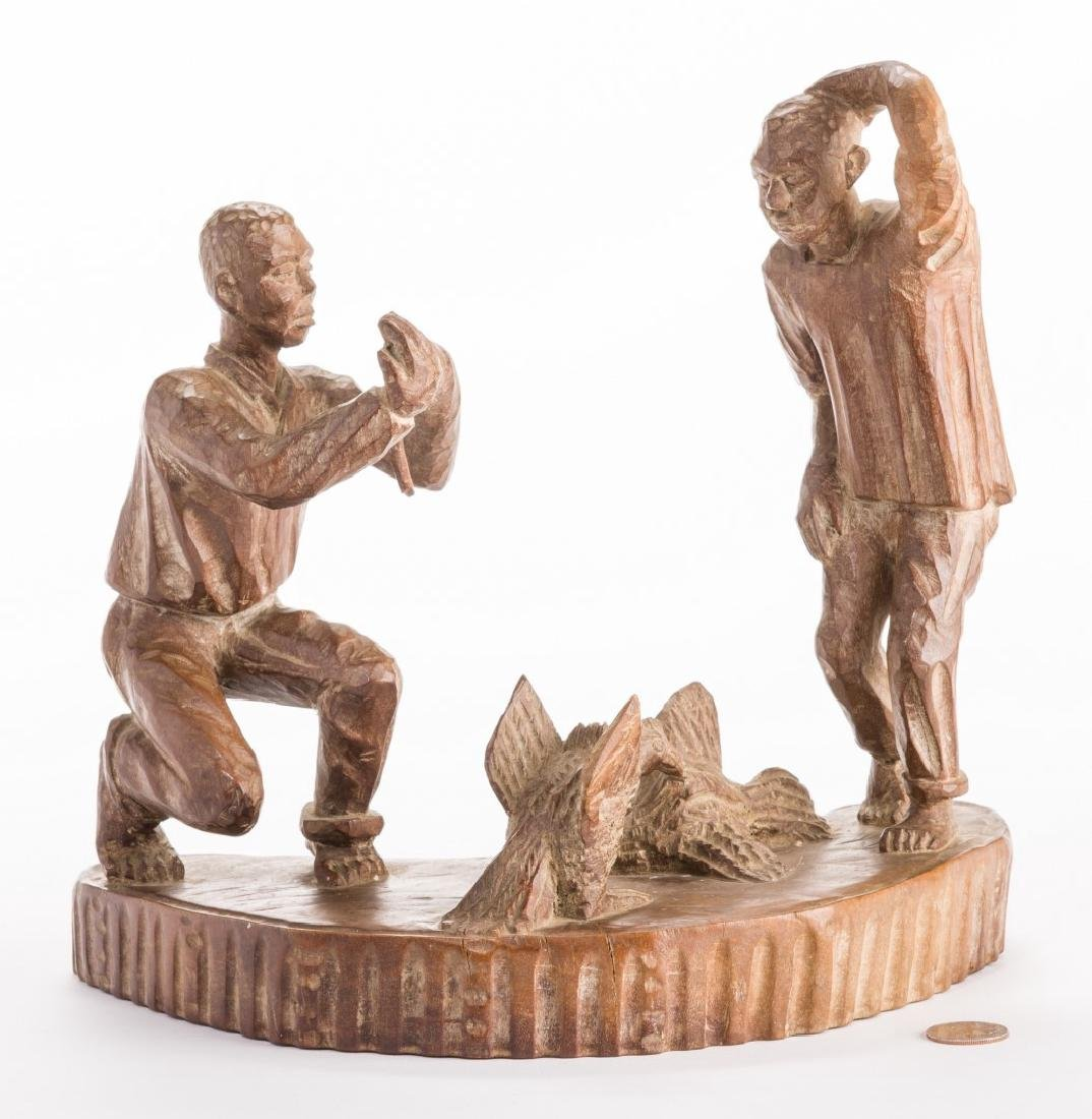 American Folk Art Carving, Cock Fighting - 6