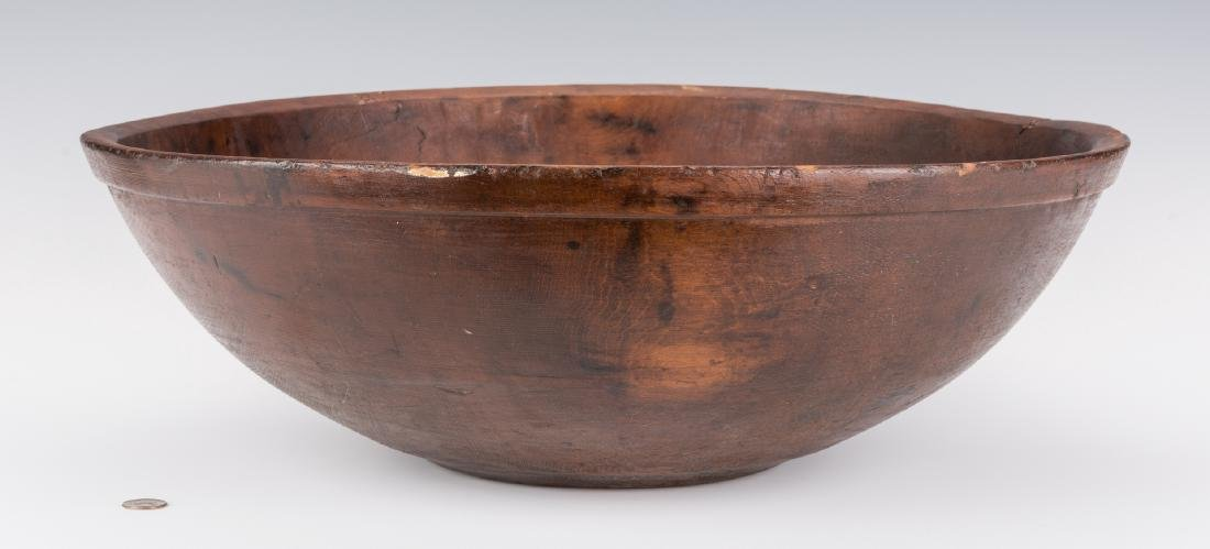 Large Turned Wooden Bowl, American