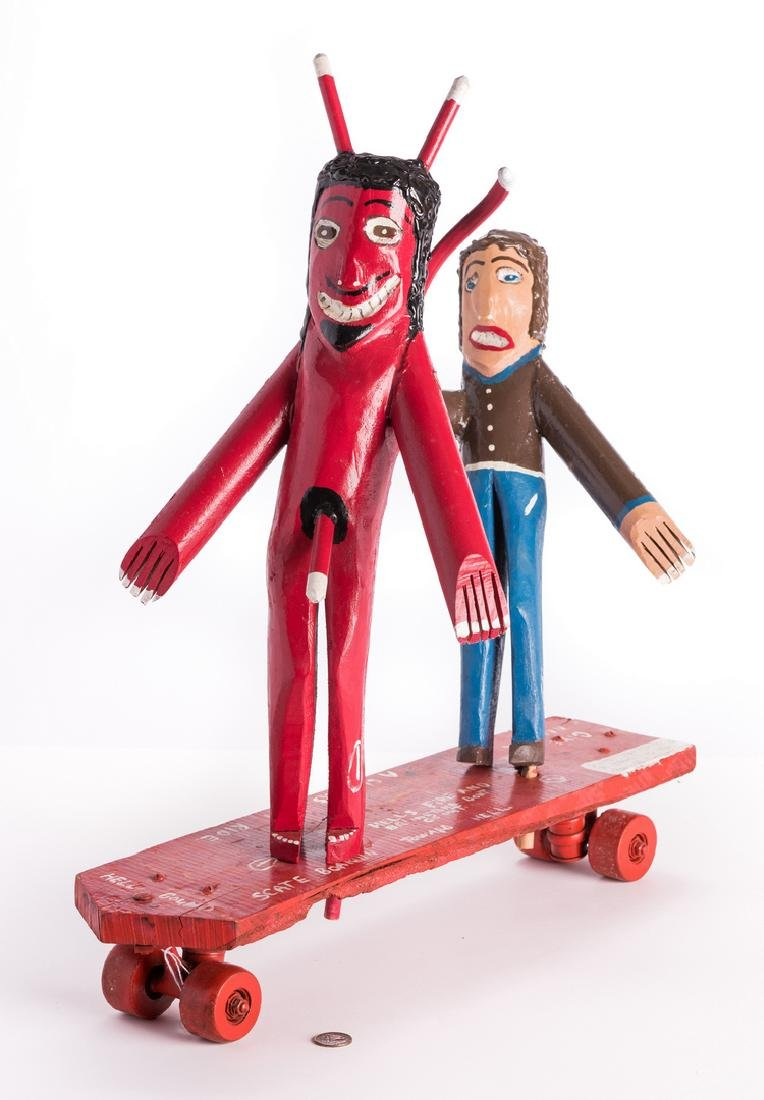 "3 R. Cooper Folk Artworks ""Scate Bordin to Hell"""