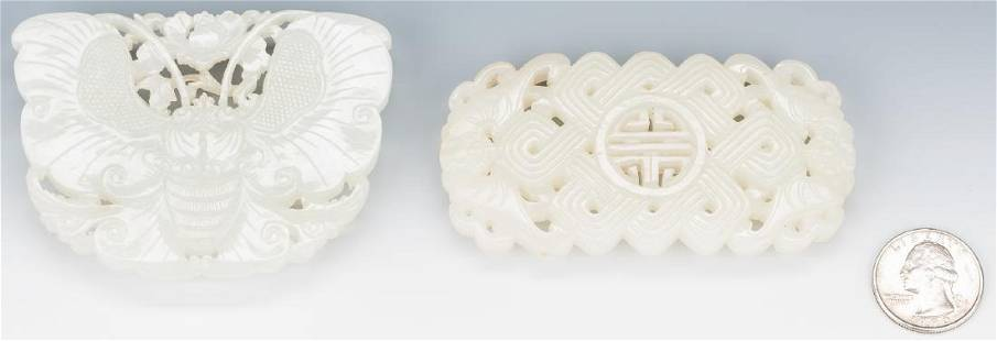 2 Chinese White/Pale Celadon Carved Belt Buckles