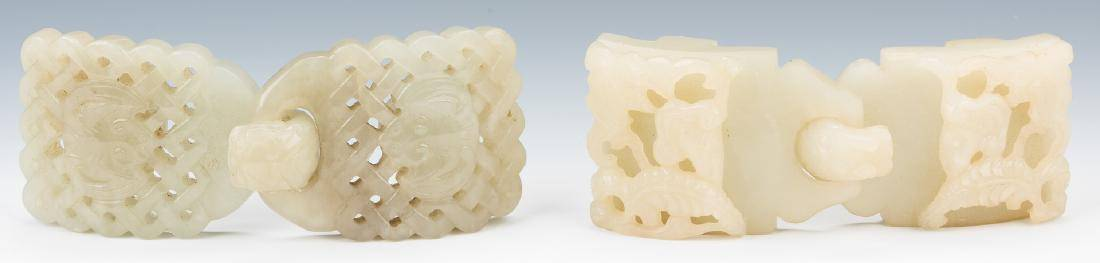 2 Chinese Celadon Jade Double Belt Buckles